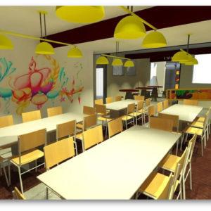 Praça de alimentação (Setembro/2018)  – Transformação da sala de almoço em um espaço arrojado para alimentação e convívio